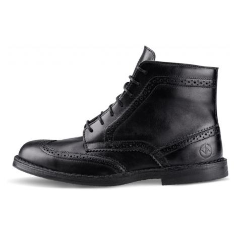Vasky Brogue High Black - Pánské kožené kotníkové boty černé, česká výroba