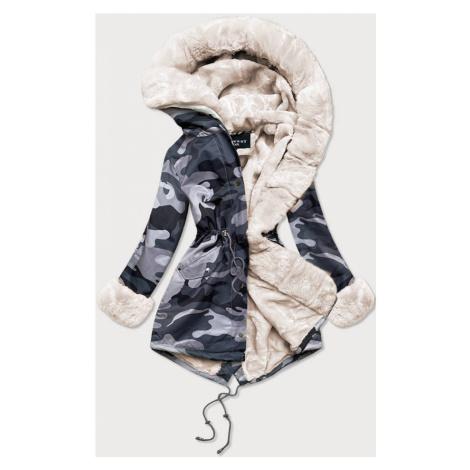 """Šedo-bílá dámská maskáčová """"moro"""" zimní bunda parka (B524-70046) šedá S'WEST"""