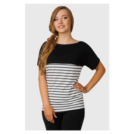 Těhotenské a kojicí triko Holiday černobílá