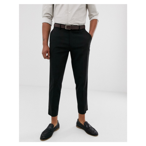 ASOS DESIGN skinny cropped smart trousers in black