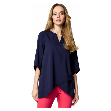 Made Of Emotion Woman's Blouse M359 Navy Blue