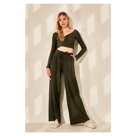 Trendyol Anthracite Corduroy Wide Leg Knitted Trousers