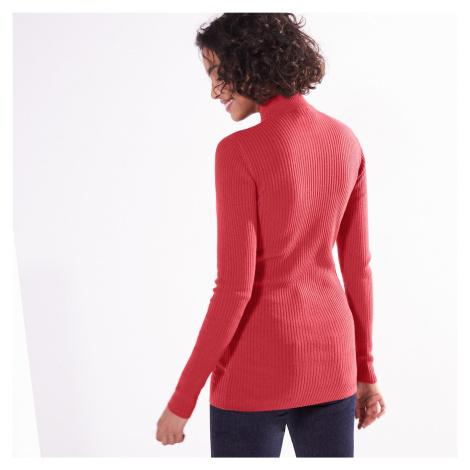 Blancheporte Žebrovaný pulovr se stojáčkem, délka cca 72 cm cihlová