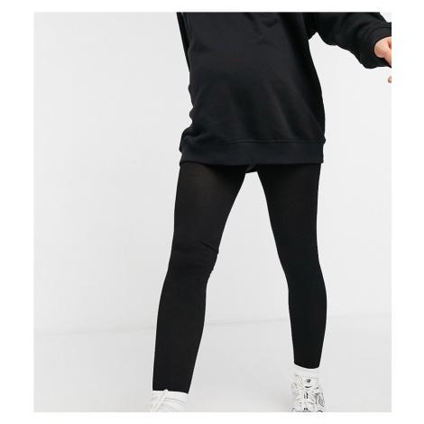 Lindex Maternity eco viscose ribbed leggings in black
