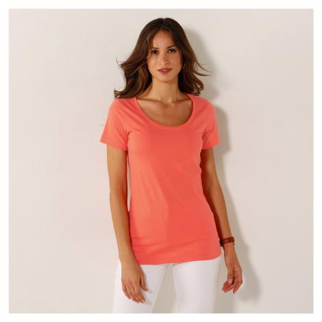 Blancheporte Jednobarevné tričko s kulatým výstřihem broskvová