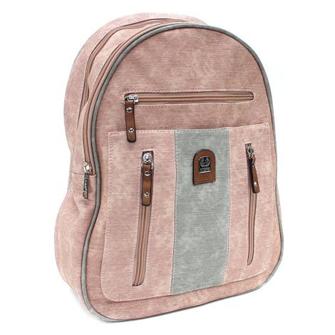 Růžovošedý zipový dámský batoh Trina New Berry