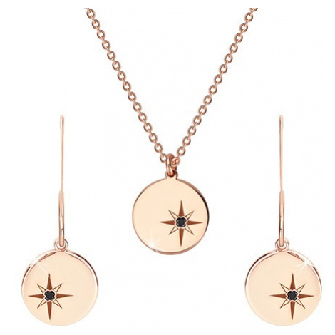 Stříbrný set 925 růžovozlaté barvy - náhrdelník a náušnice, kruh s Polárkou, černý diamant Šperky eshop