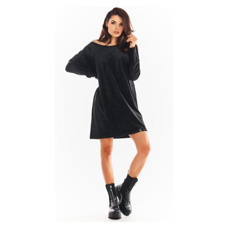 Volné šaty z jemného veluru šaty rovného střihu s dlouhými rukávy