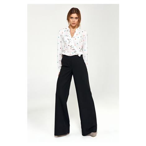 Dámské kalhoty s palazzo řezem a kapsami na knoflík a zip Nife