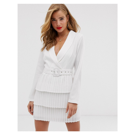 In The Style x Dani Dyer plunge front blazer dress with pleated skirt in white