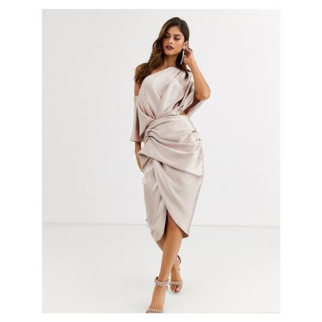 ASOS EDITION drape asymmetric midi dress in satin-Pink