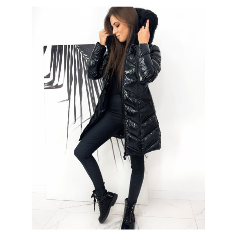 Černý kabát dámská dlouhá zimní bunda s plyšovým kožíškem - XXL