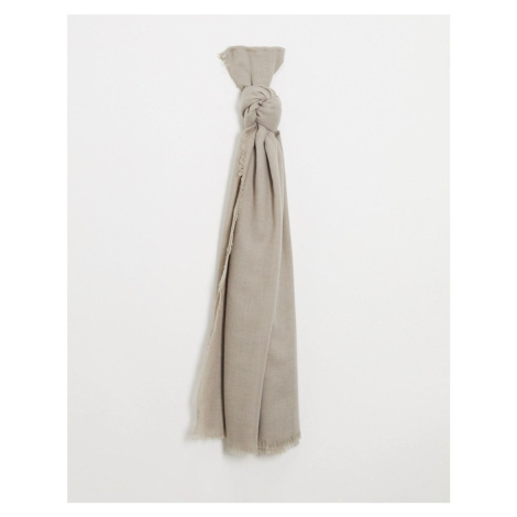 ASOS DESIGN lightweight scarf with raw edge in camel-Brown