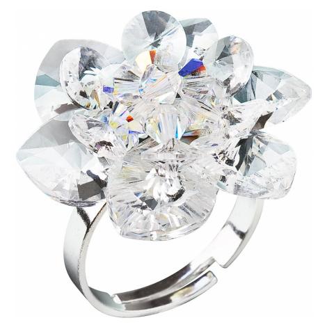 Stříbrný prsten s krystaly Swarovski bílá kytička 35012.1 Victum