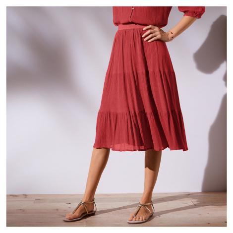 Blancheporte Krátká jednobarevná sukně tomatová