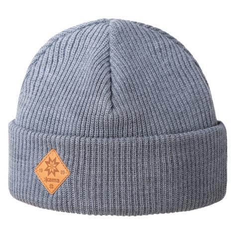 Pletená Merino čepice Kama A136 Barva: šedá