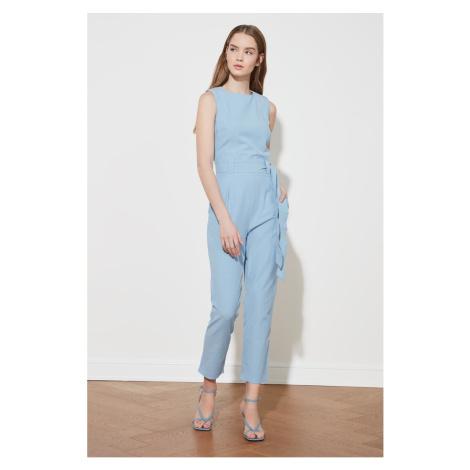 Trendyol Blue Belt Sleeveless Jumpsuit
