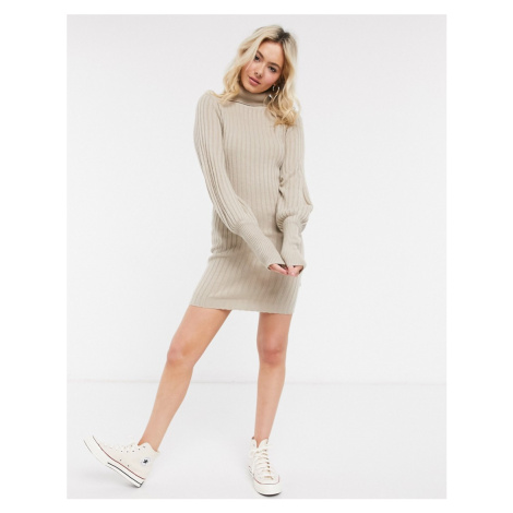 Brave Soul pacha roll neck jumper dress with balloon sleeve-Stone