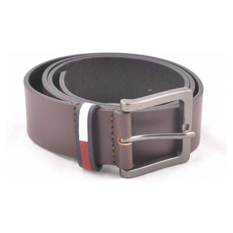 Tommy Jeans pánský hnědý pásek Tommy Hilfiger