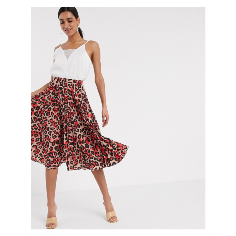 Closet London pleated midi skirt in blush leopard-Multi
