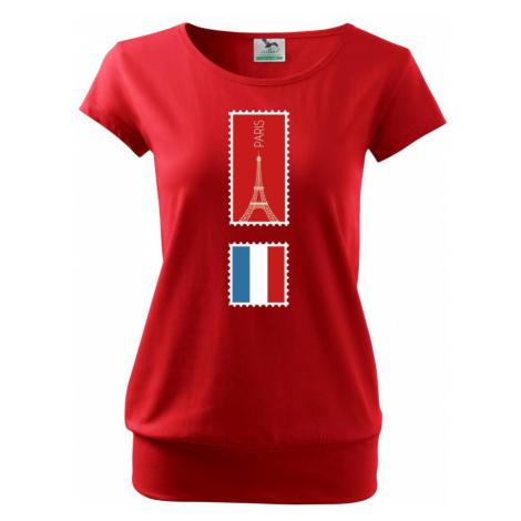Paříž známka barevná - Volné triko city