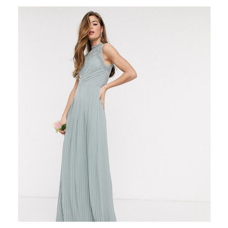 TFNC Tall bridesmaid lace back maxi dress in sage-Green