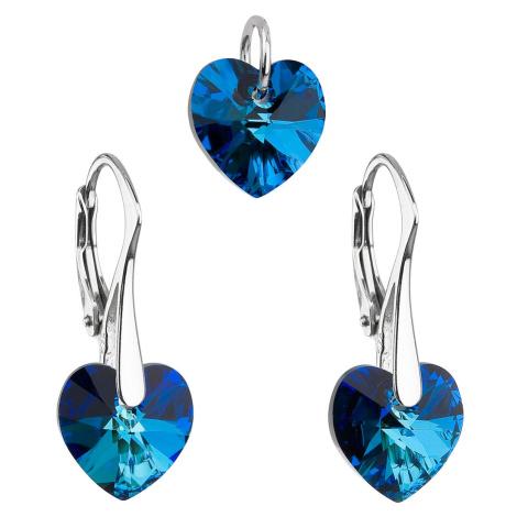 Sada šperků s krystaly Swarovski náušnice a přívěsek modrá srdce 39003.5 bermuda blue Victum