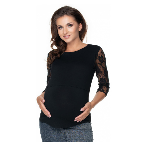 Černý těhotenský top 0158 PeeKaBoo