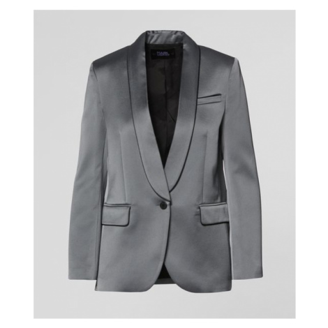 Sako Karl Lagerfeld Satin Blazer W/ Piping - Šedá