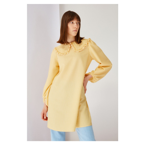 Trendyol Yellow Striped Collar Detailed Tunic Dress