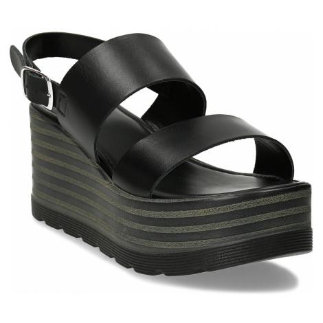 Dámské kožené černé sandály na platformě Baťa