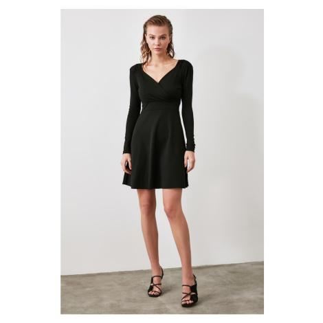 Trendyol Black V Neck Line Mini Knitting Dress