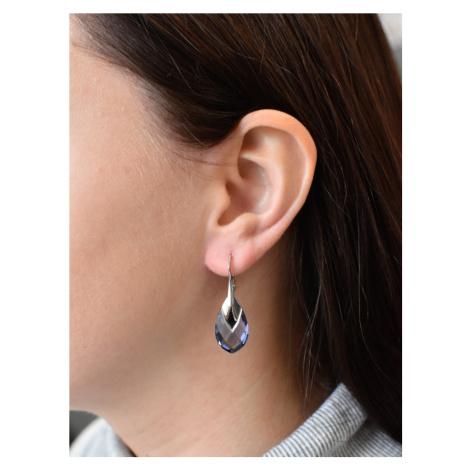 Evolution Group Sada šperků s krystaly Swarovski náušnice a přívěsek fialová kapka 79023.3