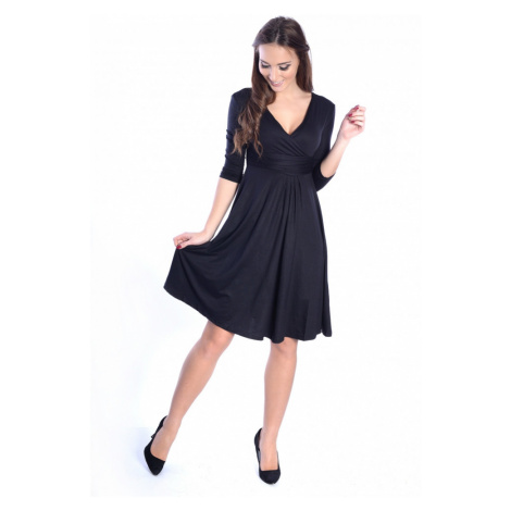 Delší vycházkové šaty s tříčtvrtečním rukávem barva černá Oxyd