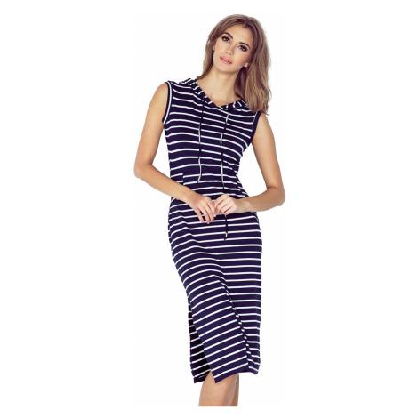 Modrobíle pruhované šaty s kapucí a klokankou model 4977831 Morimia