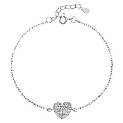 Stříbrný náramek se zirkony srdce 13007.1 Victum