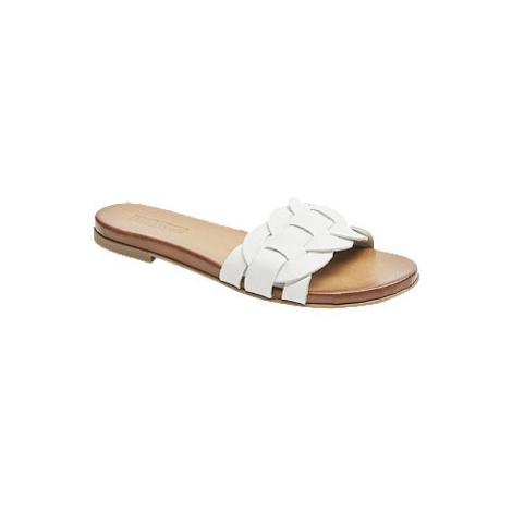 Bílé kožené pantofle 5th Avenue