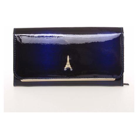Stylová kožená lakovaná dámská peněženka tmavě modrá - PARIS 74110DSHK Loren