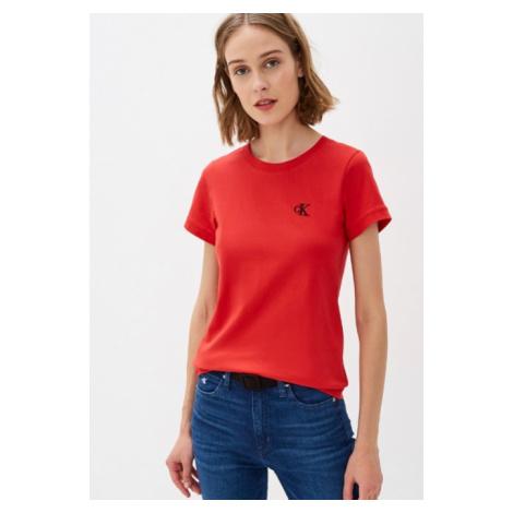 Calvin Klein Calvin Klein dámské červené tričko SLIM ORGANIC COTTON T-SHIRT