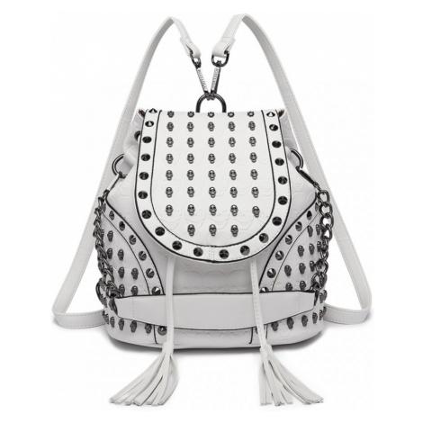 Béžový dámský batoh / kabelka s lebkami Daan Lulu Bags
