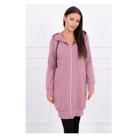 Hooded dress with a hood dark pink