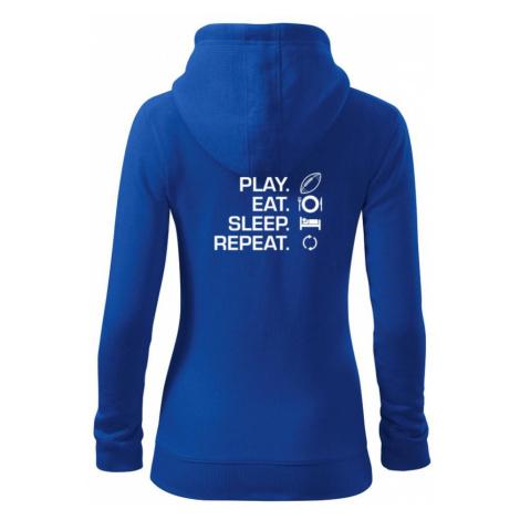 Play Eat Sleep Repeat americký fotbal - Dámská mikina trendy zippeer s kapucí