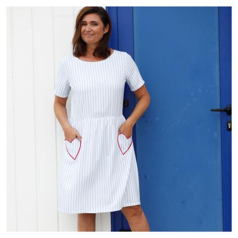 Blancheporte Pruhované rozšířené šaty bílá/modrá
