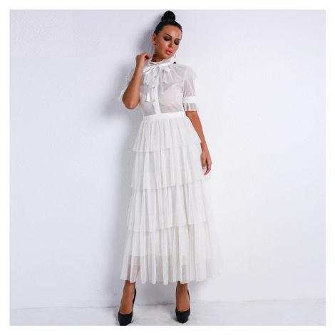Retro Průhledné šaty bílé, vysoký krk se zavazovací mašlí VEL M(38)