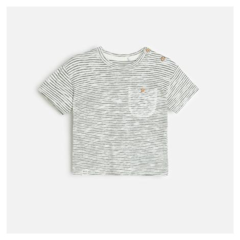 Reserved - Bavlněné tričko s knoflíky - Krémová