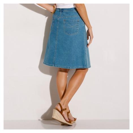 Blancheporte Džínová sukně v rozšířeném střihu sepraná modrá