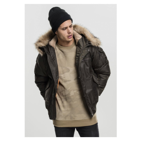 Hooded Heavy Fake Fur Bomber Jacket - dark olive Urban Classics