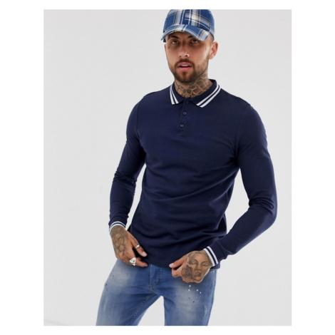 ASOS DESIGN long sleeve tipped pique polo shirt in navy