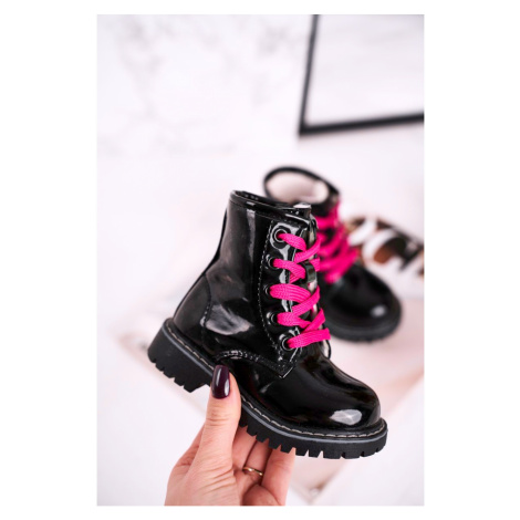Children's Boots Insulated With Fur Shiny Black Pinkie