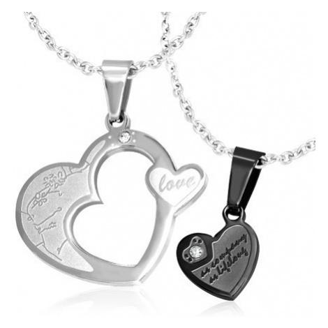 Dvojitý přívěsek pro pár, ocel 316L - srdce stříbrné a černé barvy, zirkony